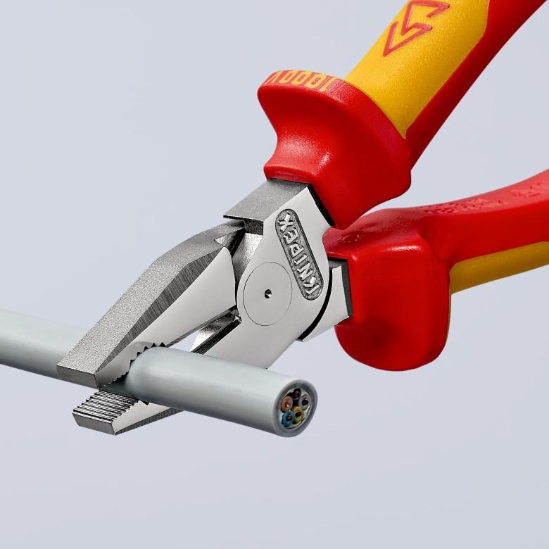 KNIPEX 02 06 225 Kraft-Kombizange verchromt isoliert mit Mehrkomponenten-H/üllen VDE-gepr/üft 225 mm